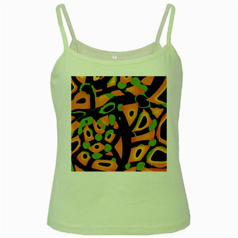 Abstract animal print Green Spaghetti Tank
