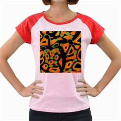 Abstract Animal Print Women s Cap Sleeve T Shirt