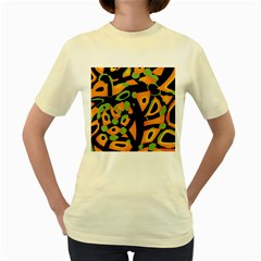Abstract Animal Print Women s Yellow T Shirt