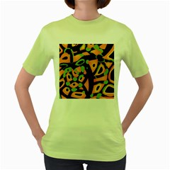 Abstract Animal Print Women s Green T Shirt