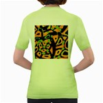 Abstract animal print Women s Green T-Shirt Back