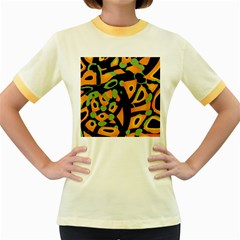 Abstract Animal Print Women s Fitted Ringer T Shirts