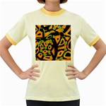 Abstract animal print Women s Fitted Ringer T-Shirts Front