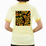 Abstract animal print Women s Fitted Ringer T-Shirts Back