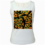 Abstract animal print Women s White Tank Top Front