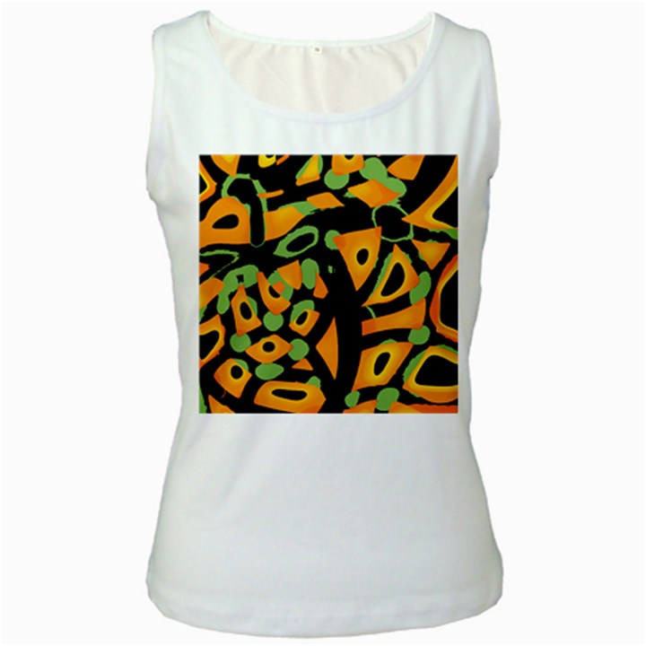 Abstract animal print Women s White Tank Top
