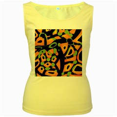 Abstract Animal Print Women s Yellow Tank Top