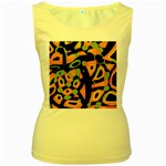 Abstract animal print Women s Yellow Tank Top Front