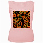 Abstract animal print Women s Pink Tank Top Front