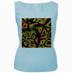 Abstract Animal Print Women s Baby Blue Tank Top