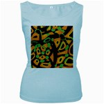 Abstract animal print Women s Baby Blue Tank Top Front