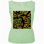 Abstract animal print Women s Green Tank Top Front