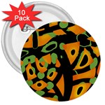 Abstract animal print 3  Buttons (10 pack)  Front