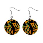 Abstract animal print Mini Button Earrings Front