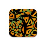 Abstract animal print Rubber Square Coaster (4 pack)  Front