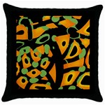 Abstract animal print Throw Pillow Case (Black) Front