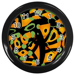 Abstract animal print Wall Clocks (Black)