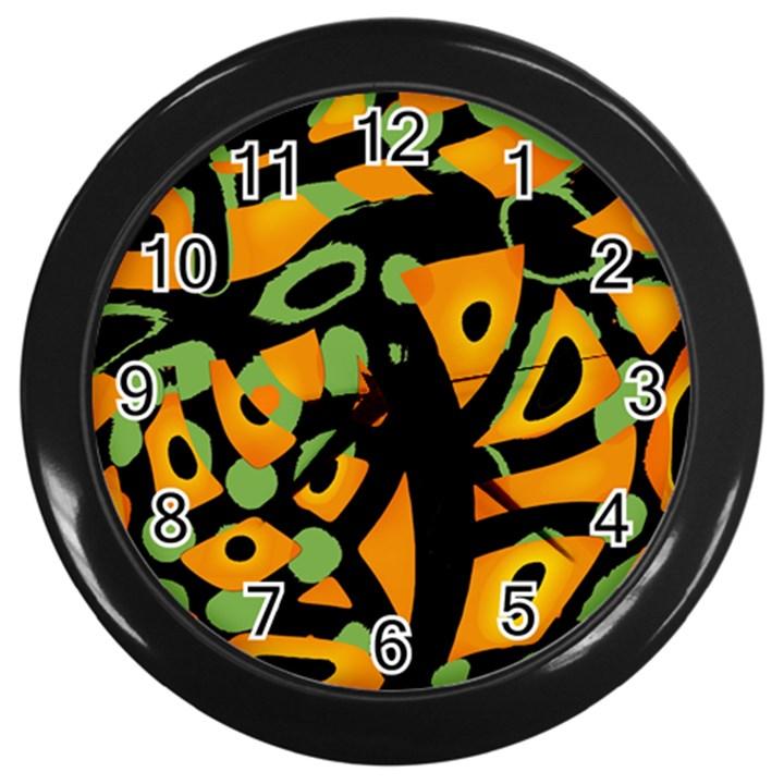Abstract animal print Wall Clocks (Black)