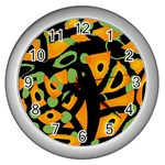 Abstract animal print Wall Clocks (Silver)  Front