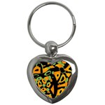 Abstract animal print Key Chains (Heart)  Front