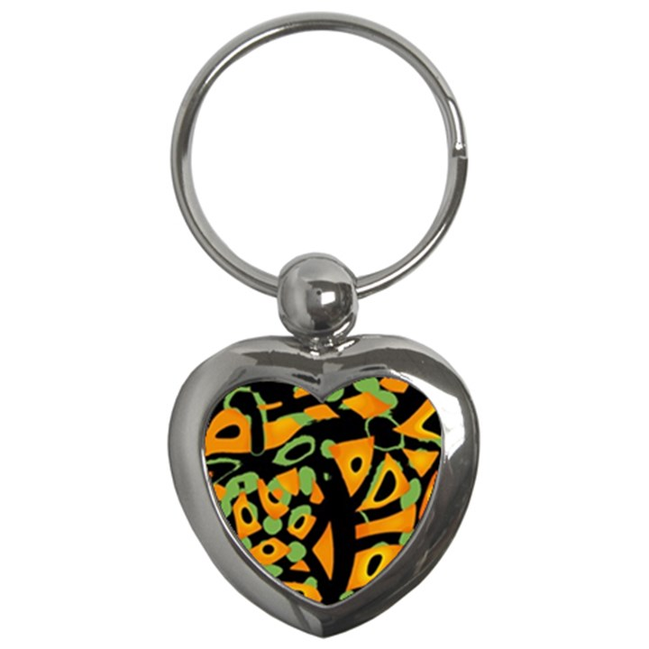 Abstract animal print Key Chains (Heart)