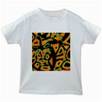 Abstract animal print Kids White T-Shirts Front