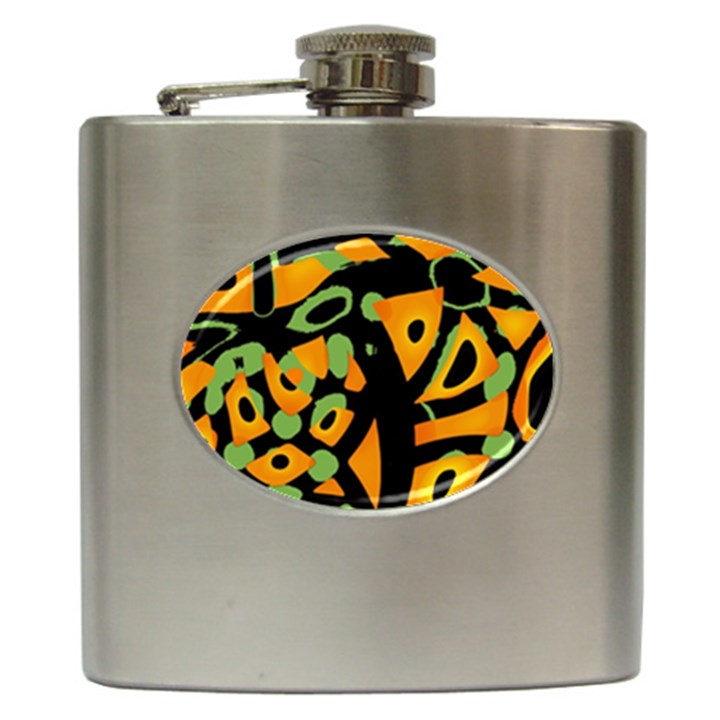Abstract animal print Hip Flask (6 oz)
