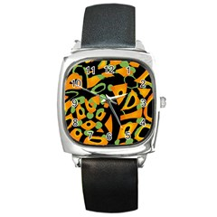 Abstract animal print Square Metal Watch