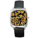 Abstract animal print Square Metal Watch Front
