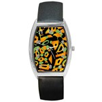 Abstract animal print Barrel Style Metal Watch Front