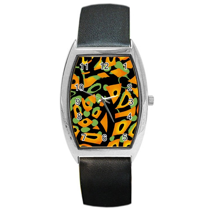 Abstract animal print Barrel Style Metal Watch