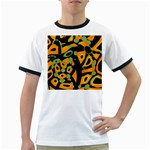 Abstract animal print Ringer T-Shirts Front