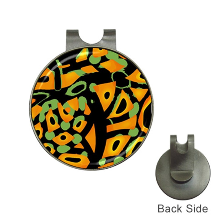 Abstract animal print Hat Clips with Golf Markers