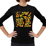 Abstract animal print Women s Long Sleeve Dark T-Shirts Front