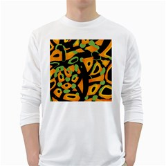 Abstract animal print White Long Sleeve T-Shirts