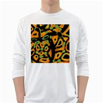 Abstract animal print White Long Sleeve T-Shirts Front