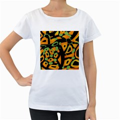 Abstract Animal Print Women s Loose Fit T Shirt (white)