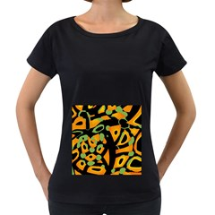 Abstract Animal Print Women s Loose Fit T Shirt (black)