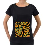 Abstract animal print Women s Loose-Fit T-Shirt (Black) Front