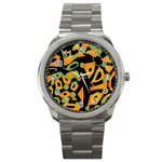 Abstract animal print Sport Metal Watch Front