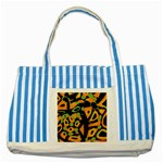 Abstract animal print Striped Blue Tote Bag Front