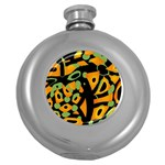Abstract animal print Round Hip Flask (5 oz) Front