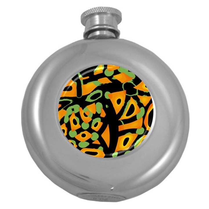 Abstract animal print Round Hip Flask (5 oz)