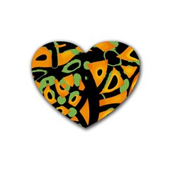 Abstract Animal Print Rubber Coaster (heart)
