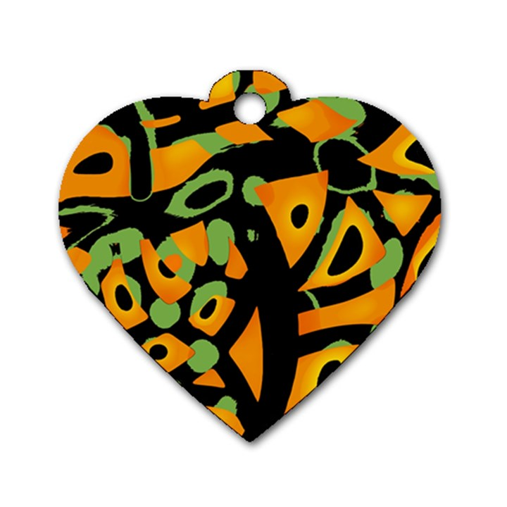 Abstract animal print Dog Tag Heart (One Side)
