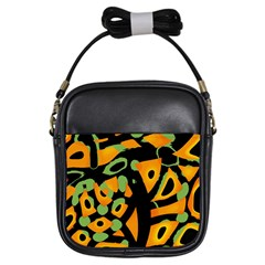 Abstract Animal Print Girls Sling Bags