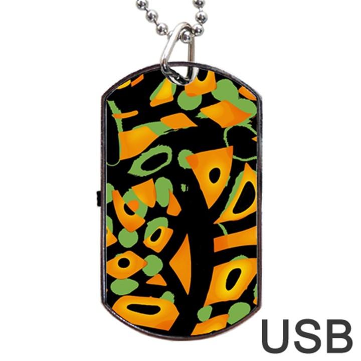 Abstract animal print Dog Tag USB Flash (One Side)