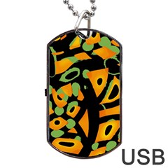 Abstract animal print Dog Tag USB Flash (Two Sides)