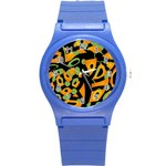 Abstract animal print Round Plastic Sport Watch (S) Front
