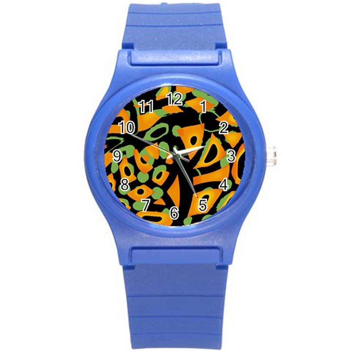 Abstract animal print Round Plastic Sport Watch (S)